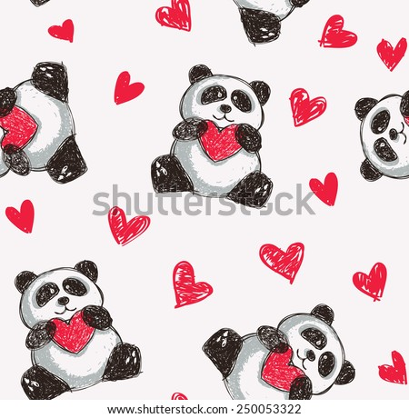 panda holding heart seamless background  - stock vector