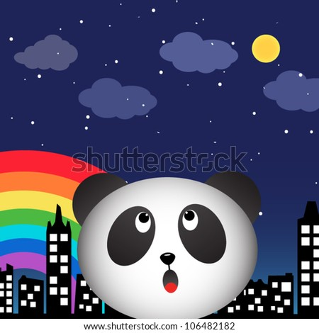 Panda in the city at night with rainbow - stock vector