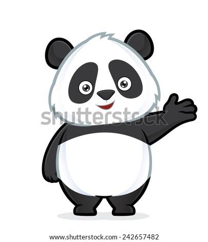 Panda in welcoming gesture - stock vector