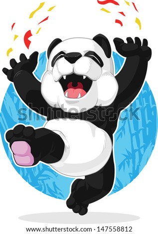 Panda Jumping in Excitement - stock vector