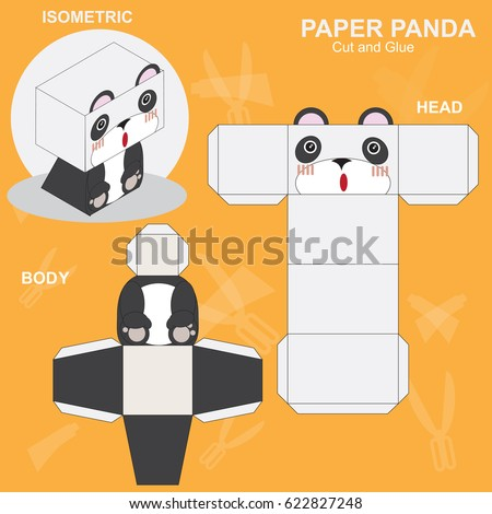 Panda Paper Craft Template Stock Vector   Shutterstock