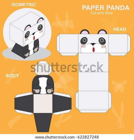 Panda paper craft template stock vector hd royalty free 622827248 panda paper craft template maxwellsz