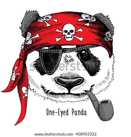 Panda Portrait In A Pirates Bandana With Tobacco Pipe Vector Illustration