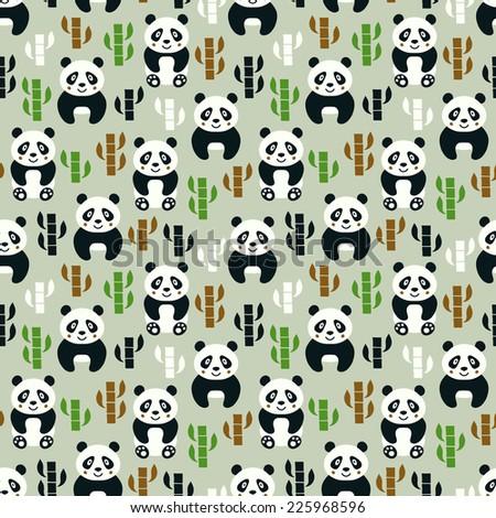 Panda seamless pattern. Vector illustration. - stock vector
