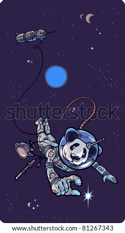 Panda the astronaut is happy to find the small shining star in outer space. - stock vector