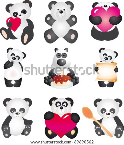 Panda. Vector collection - stock vector