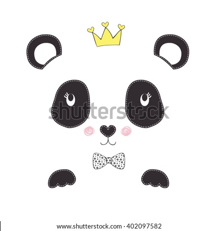 panda vector-simple sign a panda-Baby panda face logo template-pretty animal-cute animal print-sticker animal.Children illustration for School books and more.