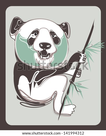 panda vector with vintage style - stock vector
