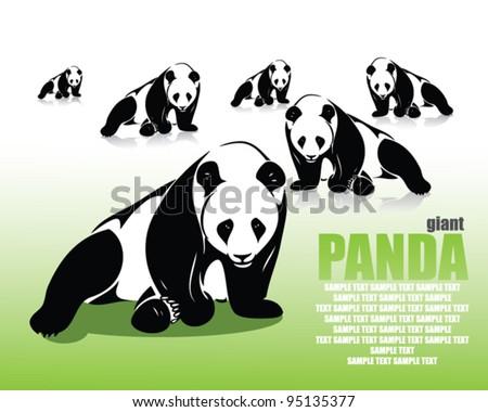 Panda wallpaper - vector illustration - stock vector