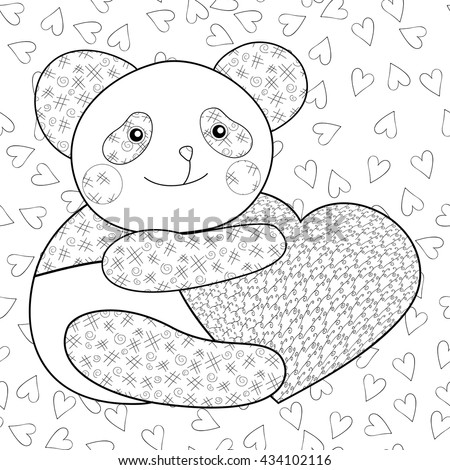 Panda With Heart Kid Coloring Book Page Vector Illustration Black Outline