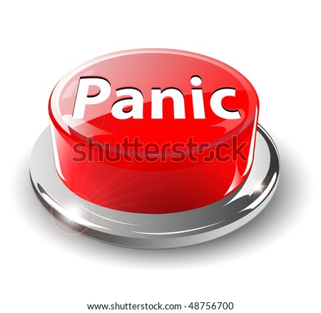 Panic button, 3d red glossy metallic, vector. - stock vector