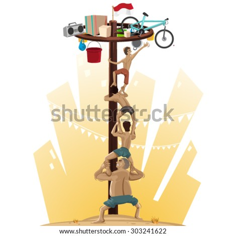 Panjat Pinang, Pole Climbing. Indonesian Independence Day Tradition, Offers Prizes For Those Who Scale Slippery Pole - stock vector