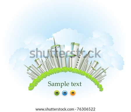panorama card of the modern city - stock vector
