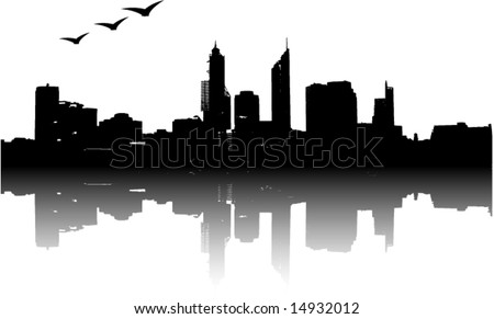Panorama of city with reflection. Vector art. - stock vector