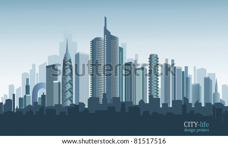 Panorama of modern city.  Beautiful background. - stock vector