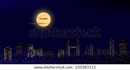 panorama of  night city with moon and aircraft, vector illustration