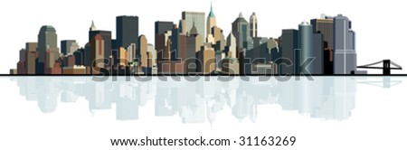 Panorama of the big city. Urban background. All elements and textures are individual objects. Vector illustration scale to any size. - stock vector