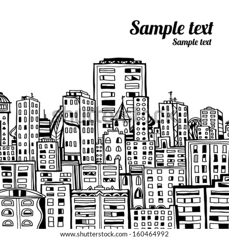 Panorama of the city cartoon illustration in black and white - vector - stock vector