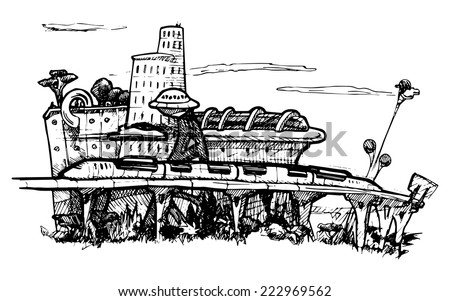 Panorama of the fantastic megalopolis.  Vector black and white illustration stylized as engraving. - stock vector