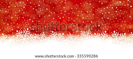 Panorama red white snow fall backdrop with red at the top turning into whte at the bottom with big snowflakes - stock vector
