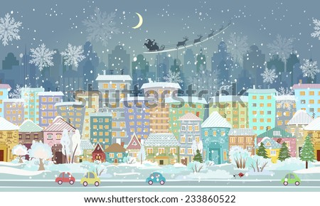 panorama. seamless border with a winter cityscape - stock vector