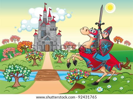 Panorama with medieval castle and knight. Cartoon and vector illustration. - stock vector