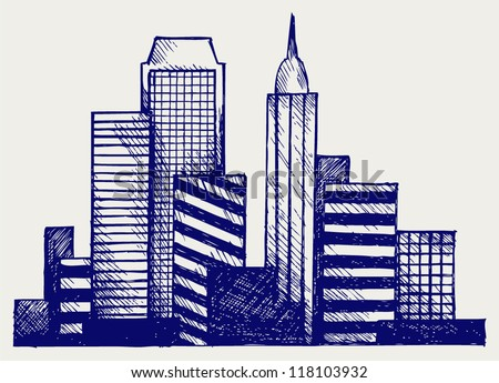 Panoramic city. Doodle style - stock vector