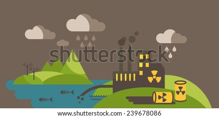 Panoramic landscape with concept pollution. Landscape with environmental contamination. Ecology problem concept  - stock vector