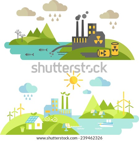 Panoramic landscape with ecology concept and concept pollution. Landscape with environmental contamination and nature ecology elements in flat style  - stock vector