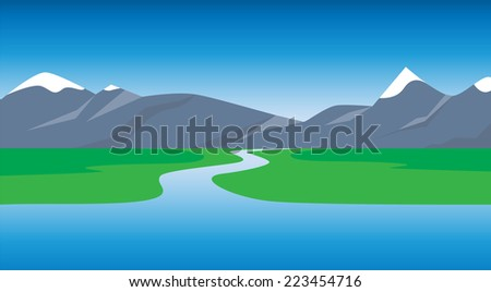 Panoramic view of mountains. Kind on mountains and lake. A vector illustration  - stock vector