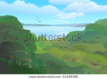 PANORAMIC VIEW OF TROPICAL FOREST AND VAST BLUE SKY - stock vector