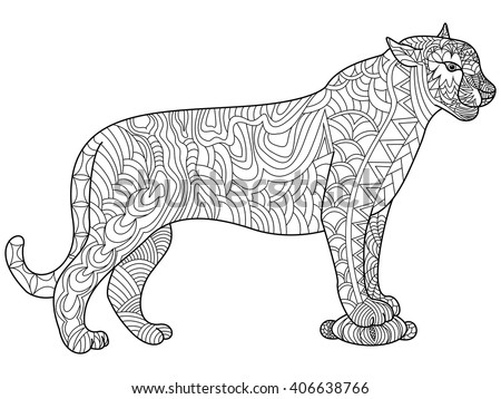 panther coloring book for adults vector illustration cat anti stress coloring for adult