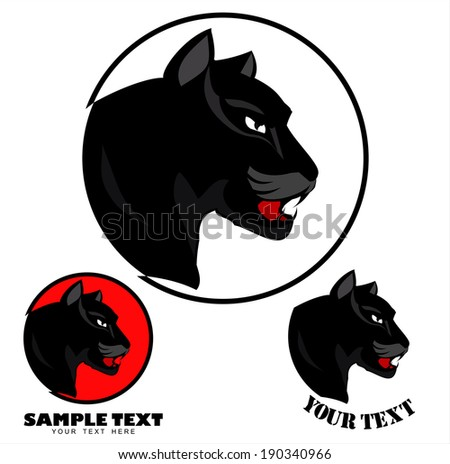 Panther Head. Black Panther Head over the circle - stock vector
