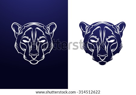 Panther Head Vintage label. Retro vector design graphic element. This is vector illustration ideal for a mascot and tattoo or T-shirt graphic. - stock vector
