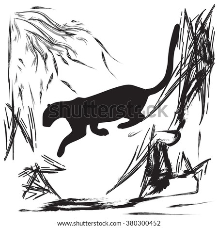 Panther jumping off a cliff abstract black and white vector illustration