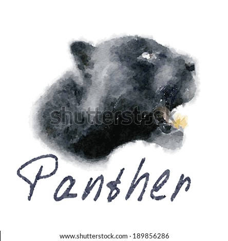 Panther Vector / watercolor panther design / T-shirt graphics - stock vector