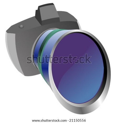 Paparazzi camera distorted with big lens - stock vector