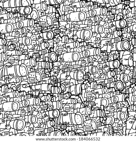 Paparazzi seamless pattern in black and white. Illustration is in eps8 vector mode, background on separate layer.  - stock vector