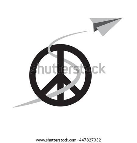 Paper Airplane Peace Symbol International Peace Stock Vector