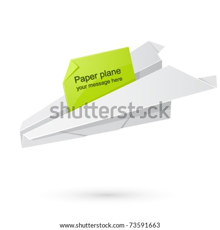 Paper airplane carrying the message