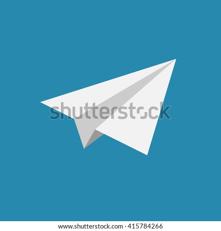 paper airplane icon on blue background