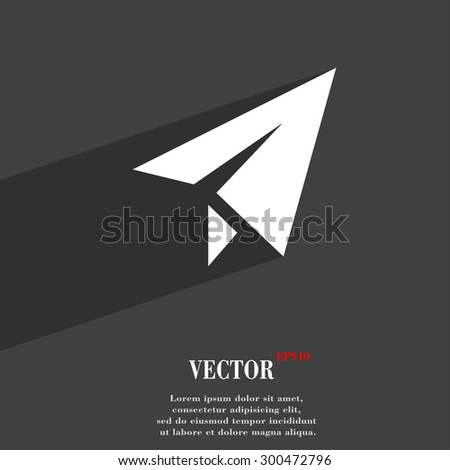 Paper airplane icon symbol Flat modern web design with long shadow and space for your text. Vector illustration - stock vector