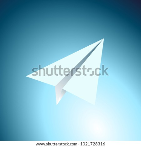 Paper airplane in the sky. Cartoon flat vector illustration.