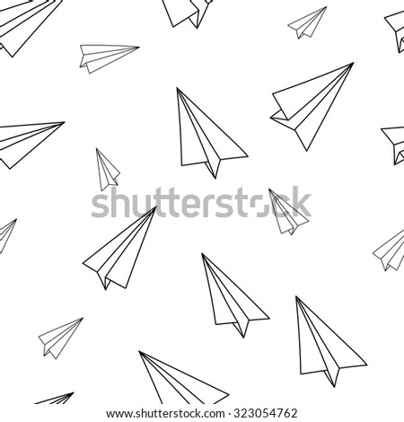 Paper airplane seamless pattern. Black and white hand-drawn background. - stock vector
