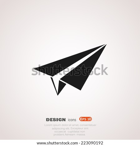 paper airplane, Web icon. vector design - stock vector
