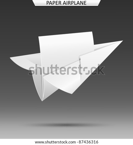 Paper airplane with blank sheet of paper