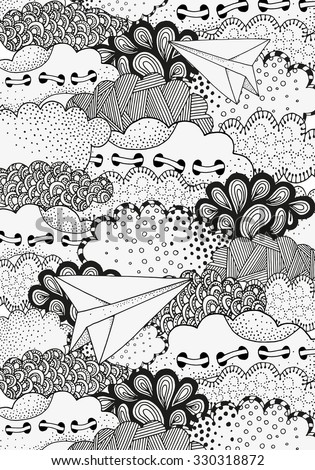 Paper airplanes flying in the sky. Art background with vector abstract artistically clouds. Pattern for coloring book. A4 size.  Made by trace from sketch. Ink pen. Zentangle. Black and white pattern. - stock vector