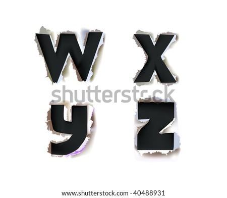 paper alphabet Bold version - stock vector