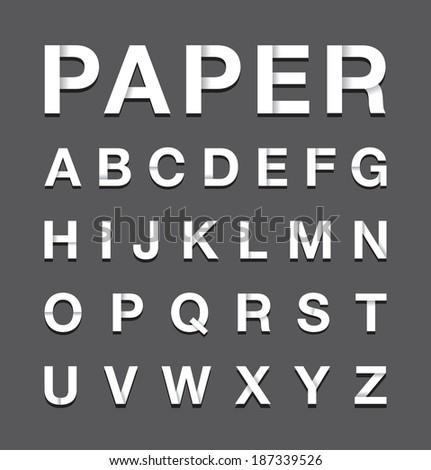 paper alphabet text - stock vector