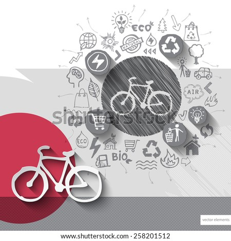 Paper and hand drawn bike emblem with icons background. Vector illustration - stock vector